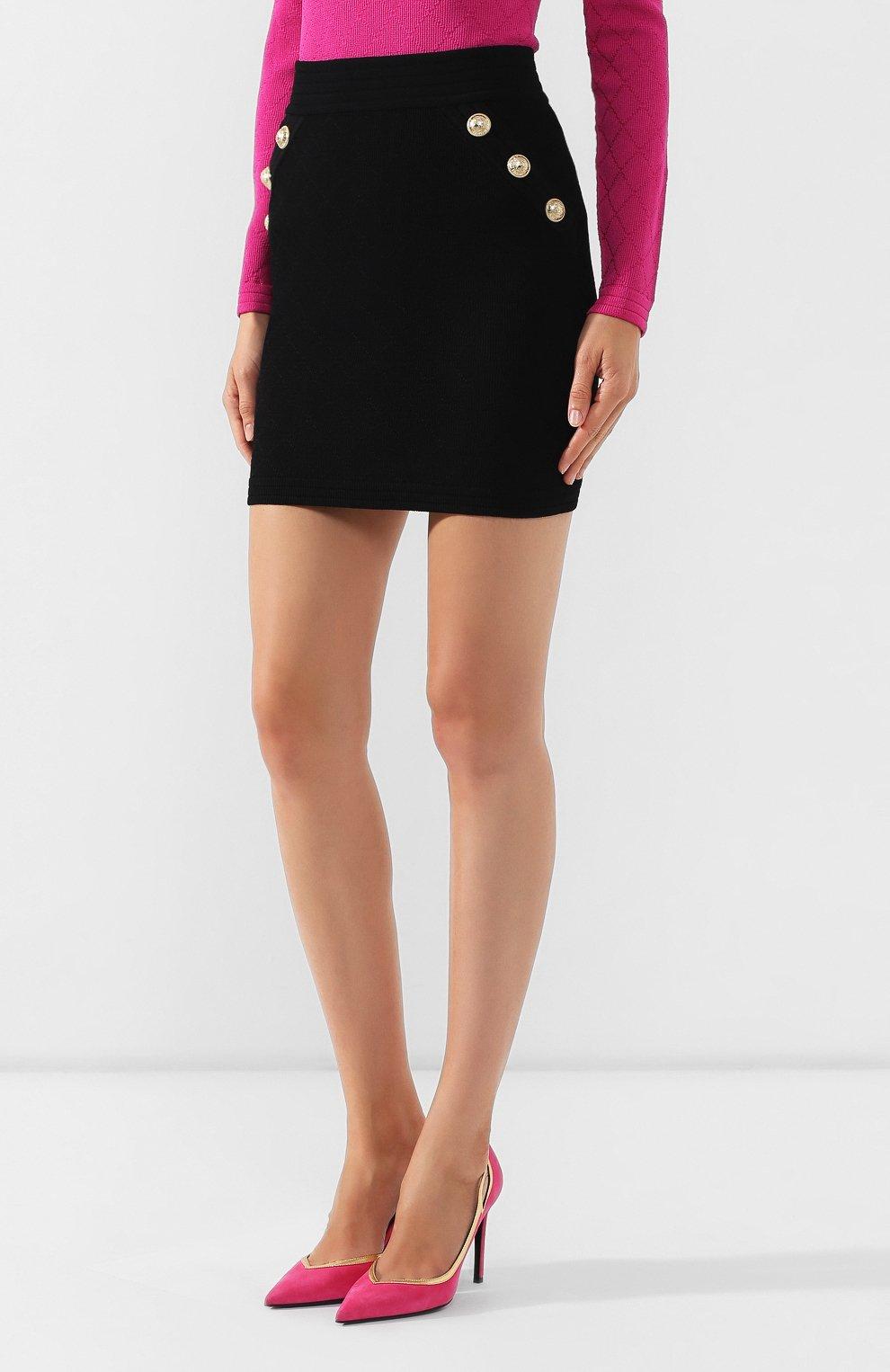 Женская юбка из вискозы BALMAIN черного цвета, арт. SF14215/K462 | Фото 3