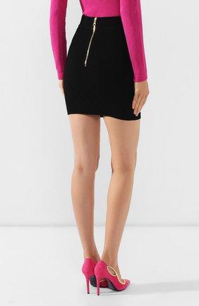 Женская юбка из вискозы BALMAIN черного цвета, арт. SF14215/K462 | Фото 4