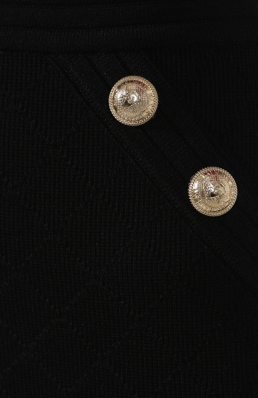 Женская юбка из вискозы BALMAIN черного цвета, арт. SF14215/K462 | Фото 5