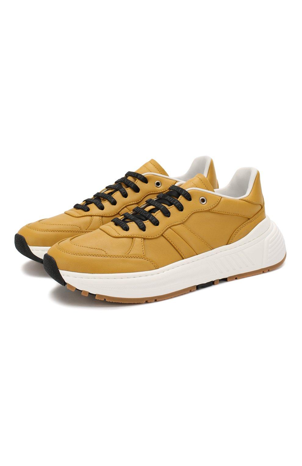 Мужские кожаные кроссовки BOTTEGA VENETA желтого цвета, арт. 565646/VT040 | Фото 1