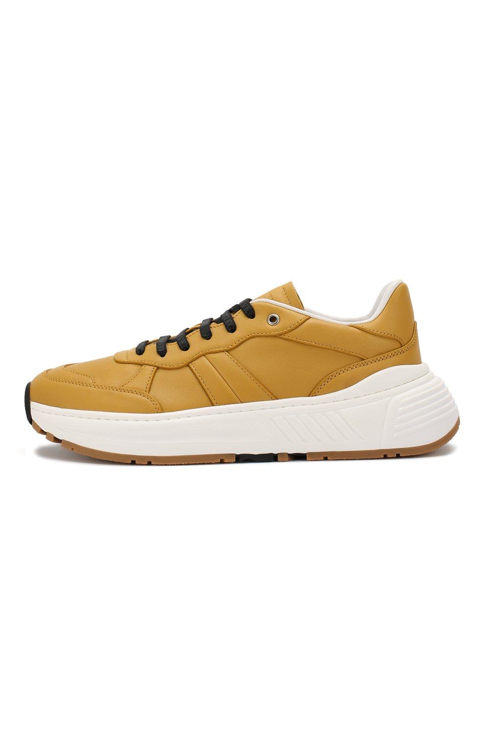 Мужские кожаные кроссовки BOTTEGA VENETA желтого цвета, арт. 565646/VT040 | Фото 3