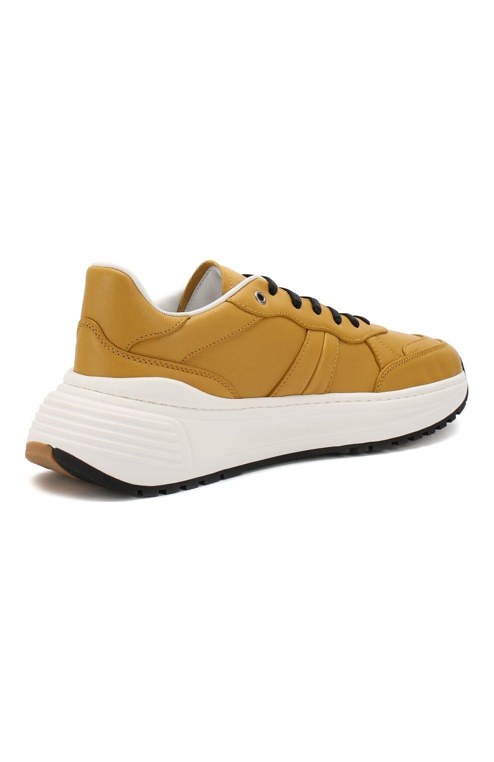 Мужские кожаные кроссовки BOTTEGA VENETA желтого цвета, арт. 565646/VT040 | Фото 4