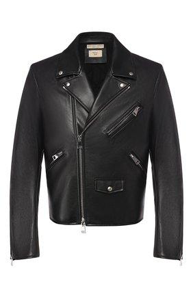 Мужская кожаная куртка BOTTEGA VENETA черного цвета, арт. 565155/VF3K0 | Фото 1