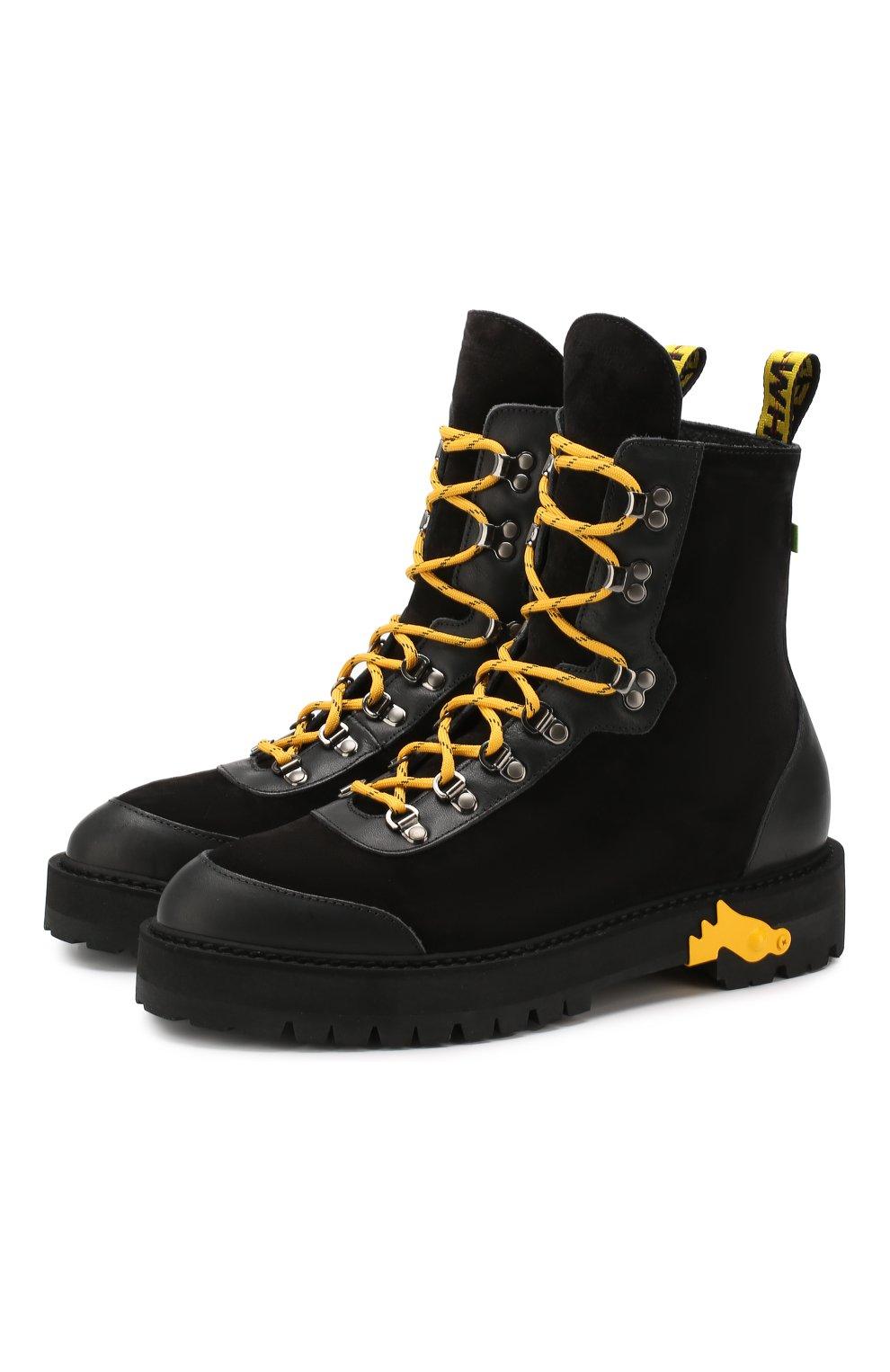 Мужские замшевые ботинки OFF-WHITE черного цвета, арт. 0MIA121E19D680021000 | Фото 1