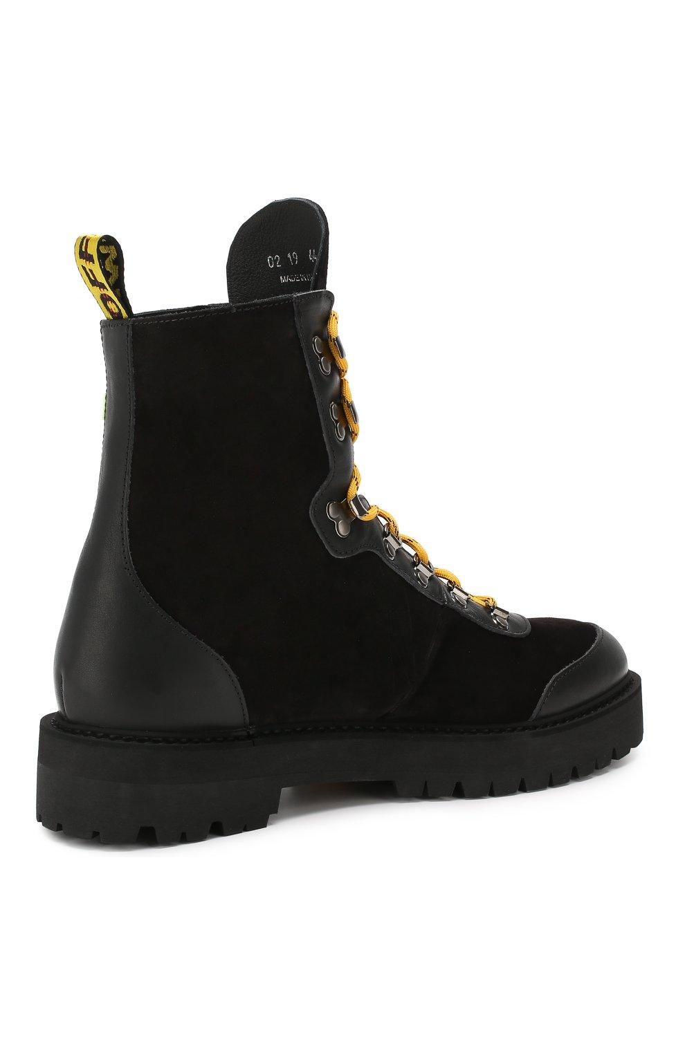 Мужские замшевые ботинки OFF-WHITE черного цвета, арт. 0MIA121E19D680021000 | Фото 4