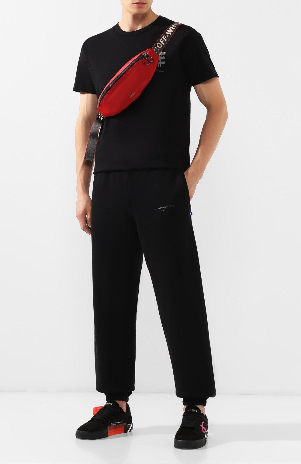 Мужская текстильная поясная сумка OFF-WHITE красного цвета, арт. 0MNA074E19E480022000   Фото 2