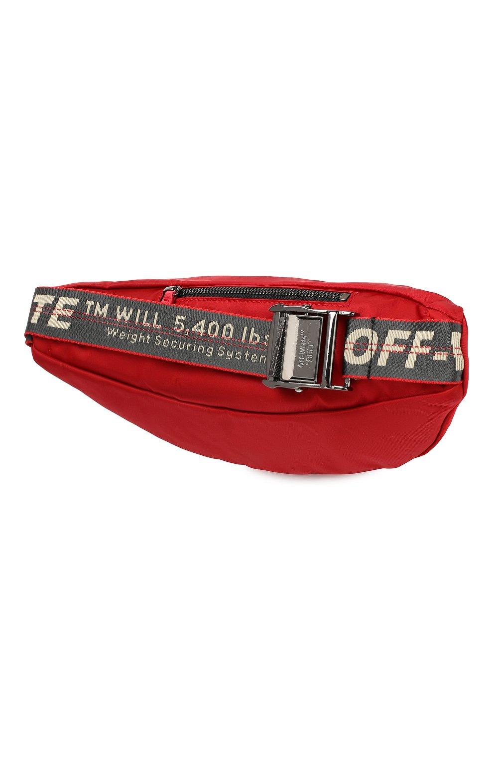 Мужская текстильная поясная сумка OFF-WHITE красного цвета, арт. 0MNA074E19E480022000   Фото 3