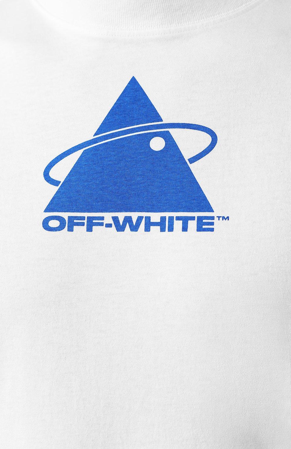 Мужская хлопковый лонгслив OFF-WHITE белого цвета, арт. 0MAB032E191850130130 | Фото 5