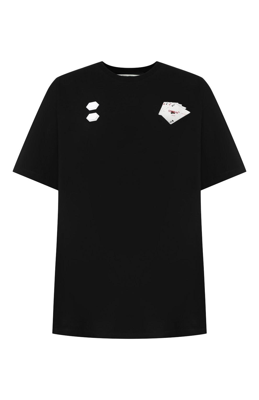 Мужская хлопковая футболка OFF-WHITE черного цвета, арт. 0MAA038E191850111088 | Фото 1