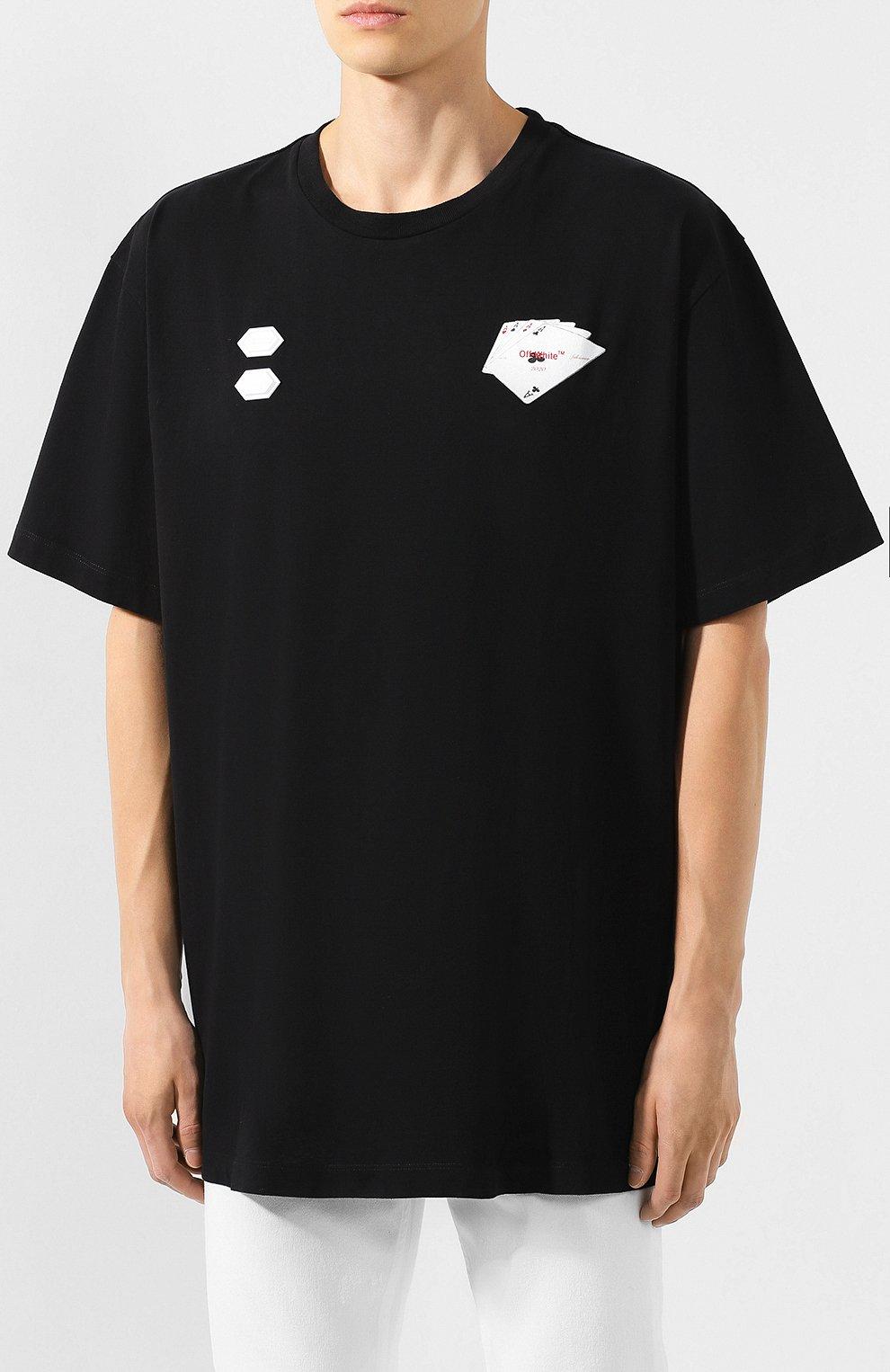 Мужская хлопковая футболка OFF-WHITE черного цвета, арт. 0MAA038E191850111088 | Фото 3