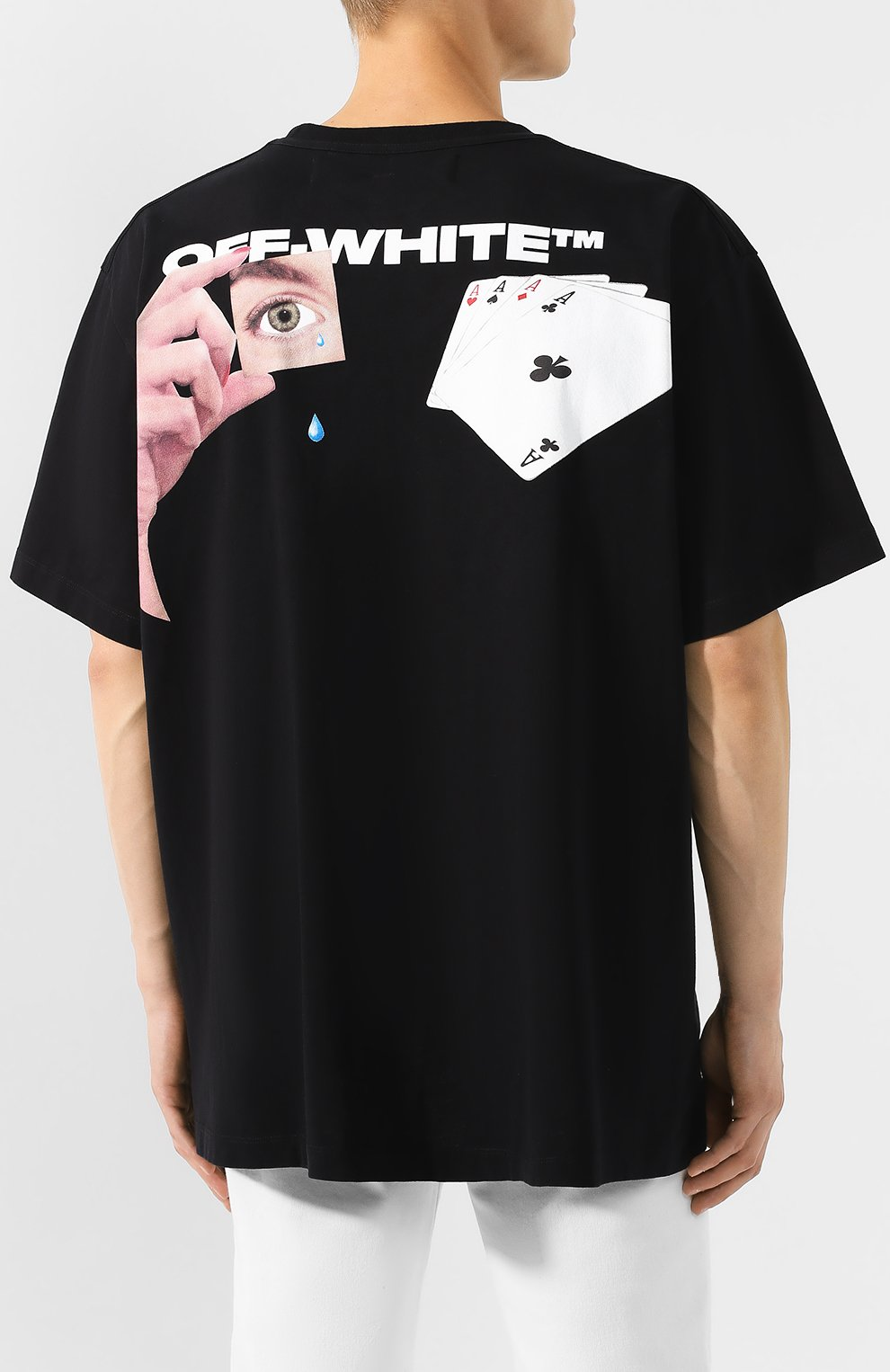 Мужская хлопковая футболка OFF-WHITE черного цвета, арт. 0MAA038E191850111088 | Фото 4