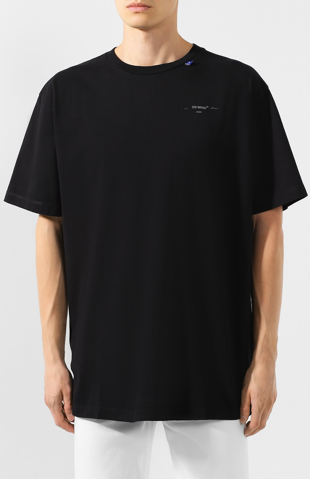 Мужская хлопковая футболка OFF-WHITE черного цвета, арт. 0MAA038E191850031091 | Фото 3