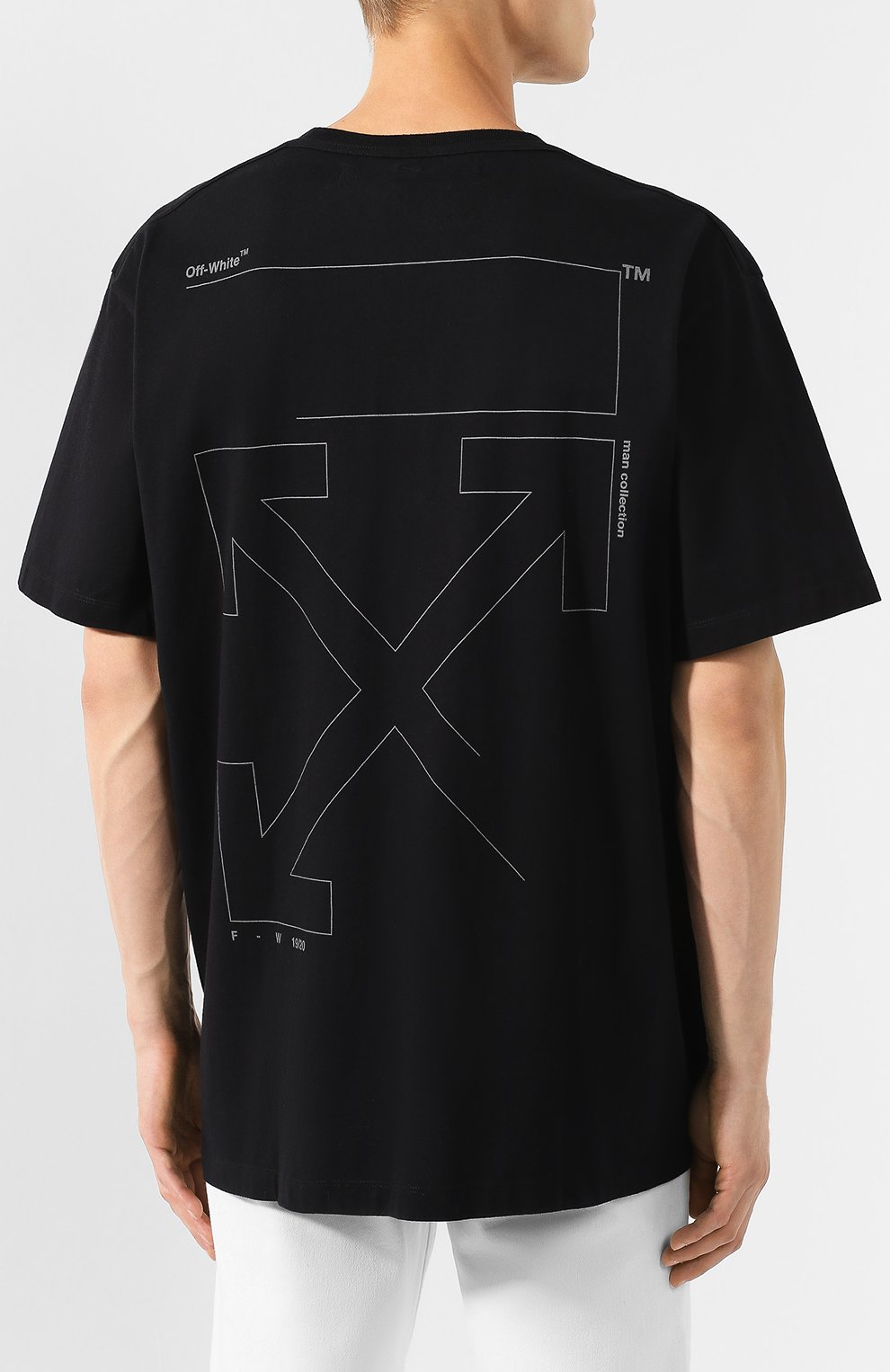 Мужская хлопковая футболка OFF-WHITE черного цвета, арт. 0MAA038E191850031091 | Фото 4