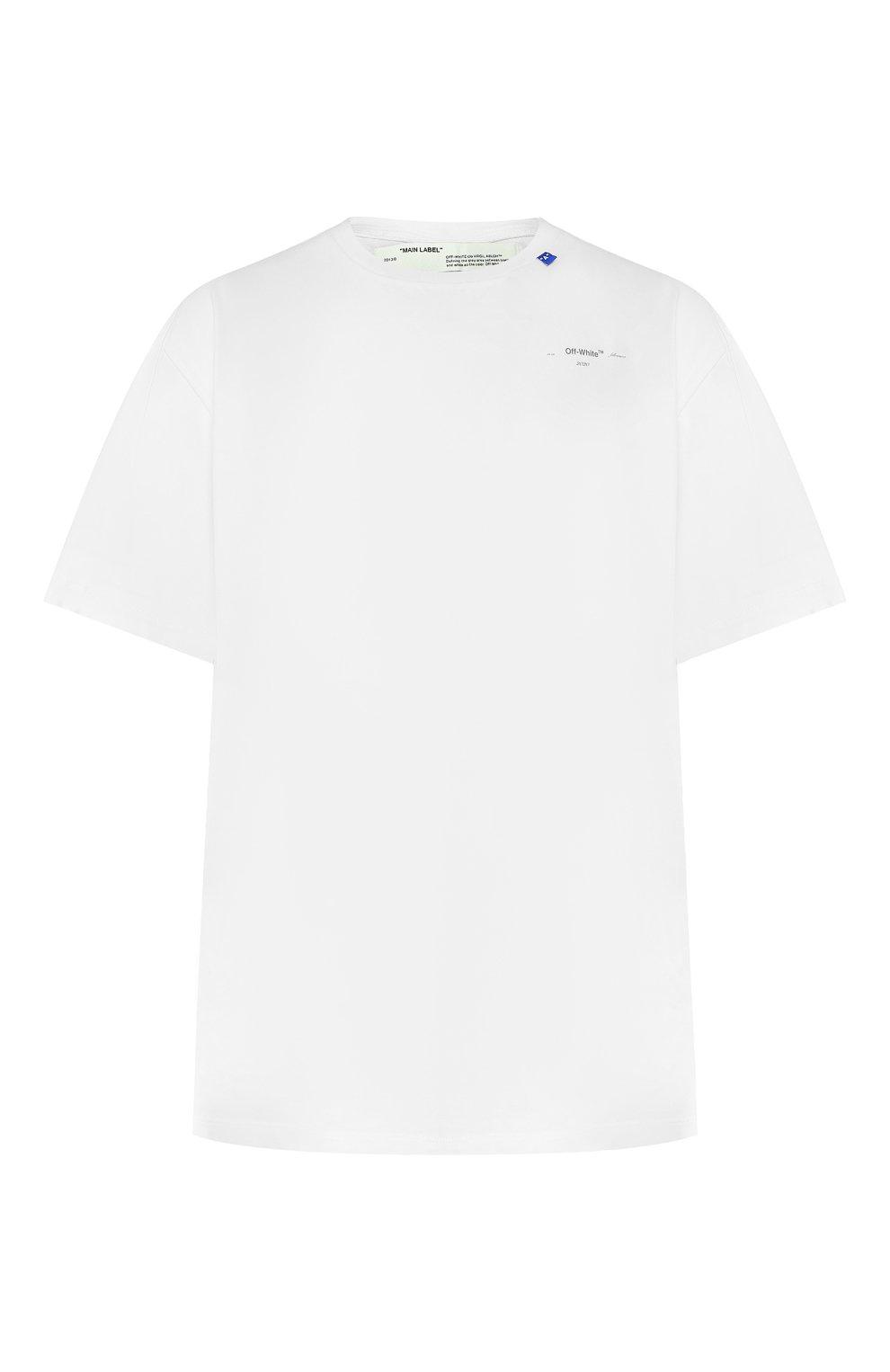 Мужская хлопковая футболка OFF-WHITE белого цвета, арт. 0MAA038E191850030191 | Фото 1