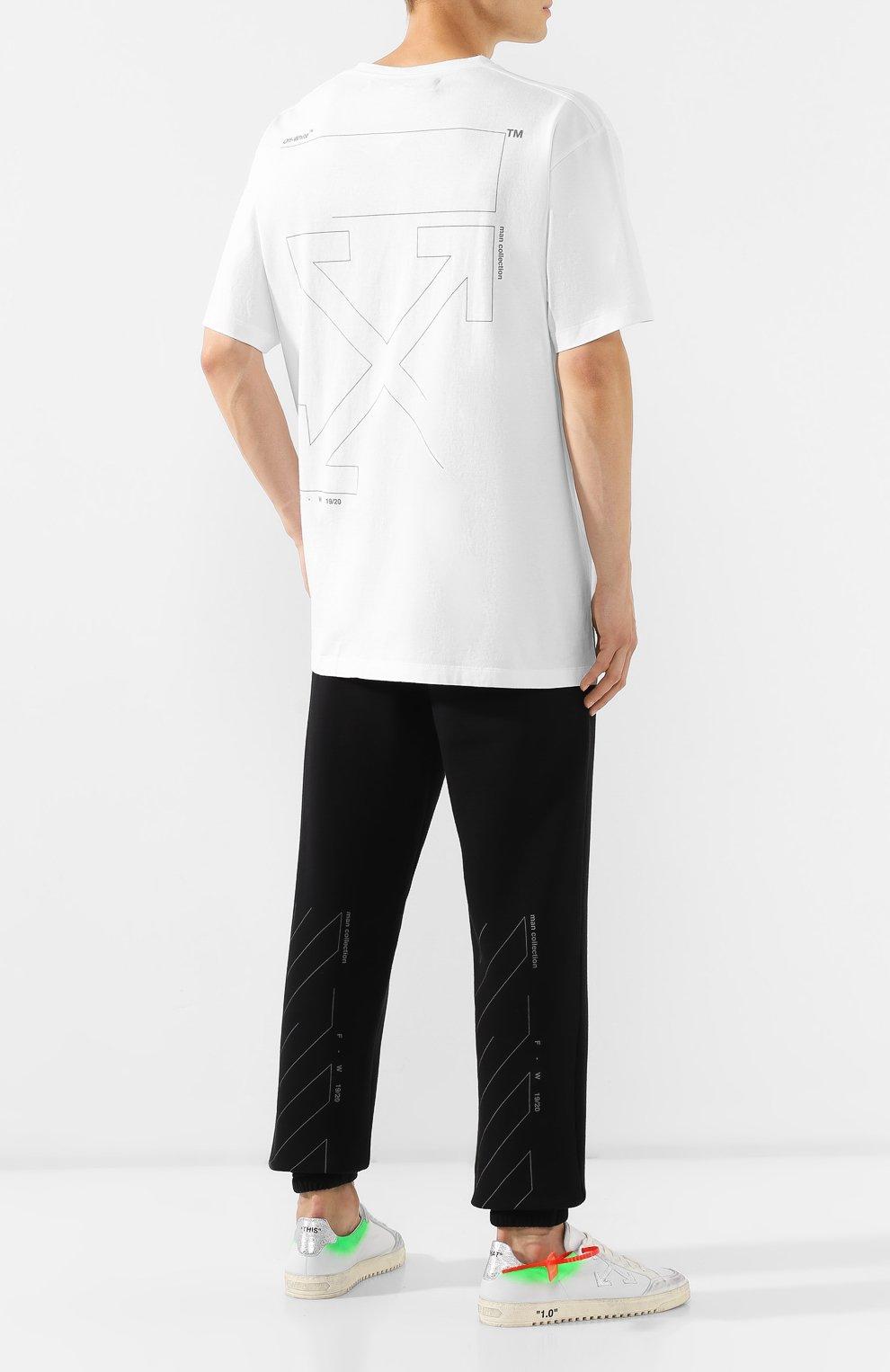 Мужская хлопковая футболка OFF-WHITE белого цвета, арт. 0MAA038E191850030191 | Фото 2