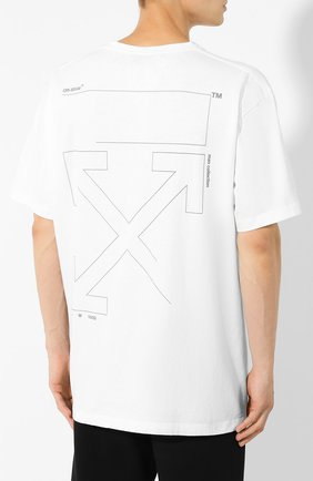 Мужская хлопковая футболка OFF-WHITE белого цвета, арт. 0MAA038E191850030191 | Фото 4