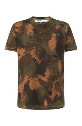 Мужская хлопковая футболка OFF-WHITE хаки цвета, арт. 0MAA027E191850189901   Фото 1