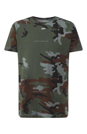 Мужская хлопковая футболка OFF-WHITE хаки цвета, арт. 0MAA027E191850179901   Фото 1