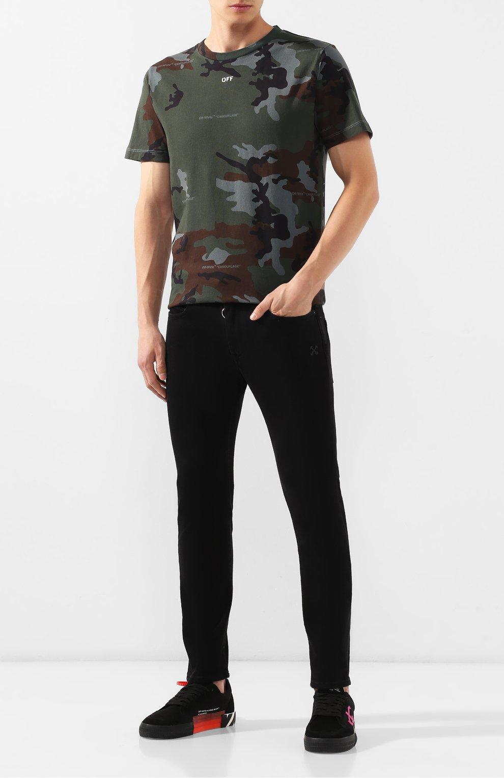Мужская хлопковая футболка OFF-WHITE хаки цвета, арт. 0MAA027E191850179901   Фото 2