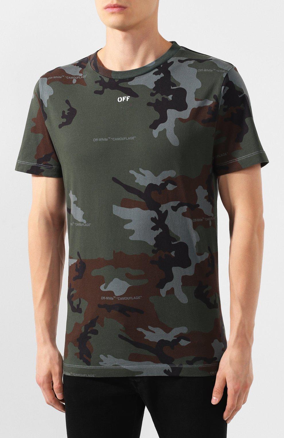 Мужская хлопковая футболка OFF-WHITE хаки цвета, арт. 0MAA027E191850179901   Фото 3
