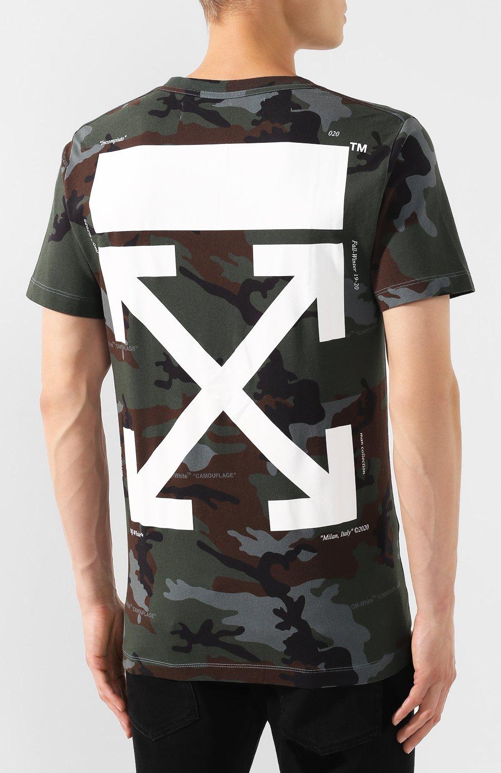 Мужская хлопковая футболка OFF-WHITE хаки цвета, арт. 0MAA027E191850179901   Фото 4