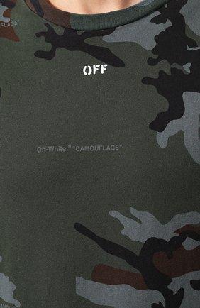 Мужская хлопковая футболка OFF-WHITE хаки цвета, арт. 0MAA027E191850179901   Фото 5