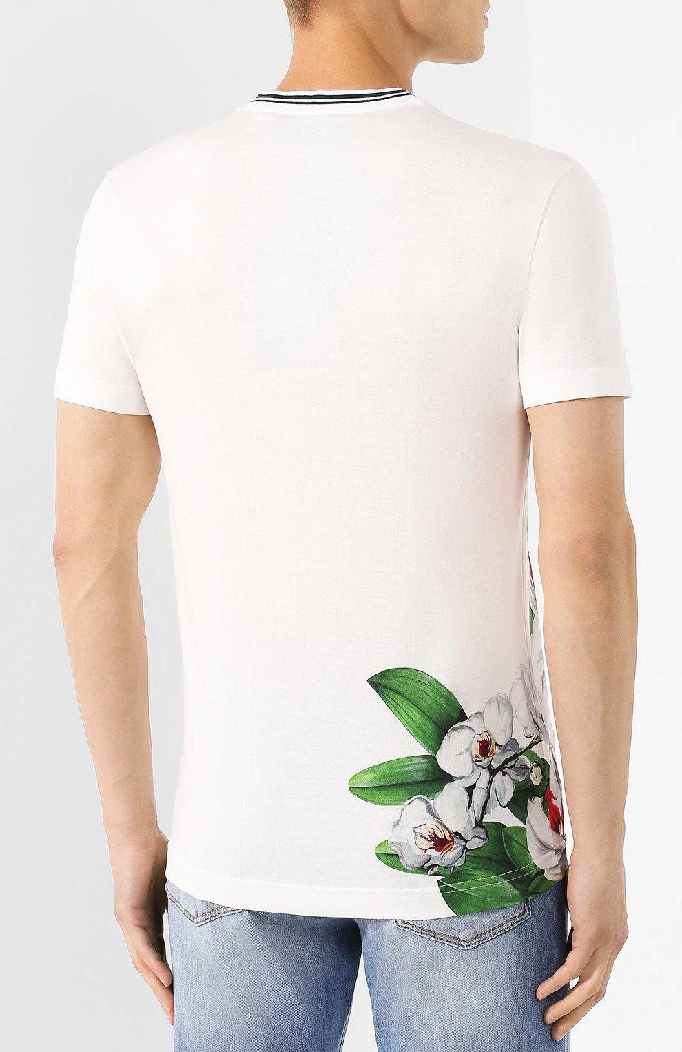 Мужская хлопковая футболка DOLCE & GABBANA белого цвета, арт. G8KD0T/HH740 | Фото 4