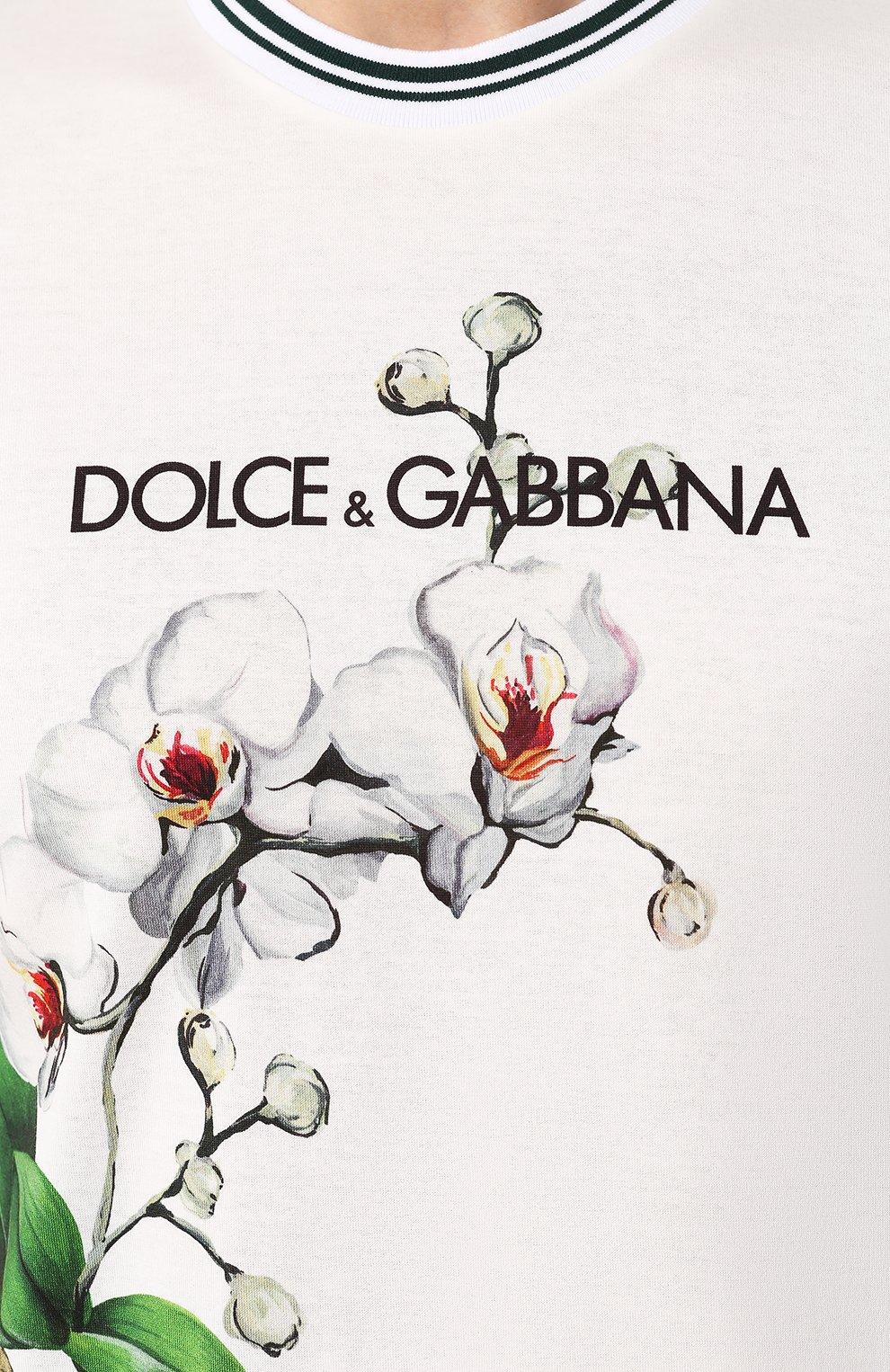 Мужская хлопковая футболка DOLCE & GABBANA белого цвета, арт. G8KD0T/HH740 | Фото 5