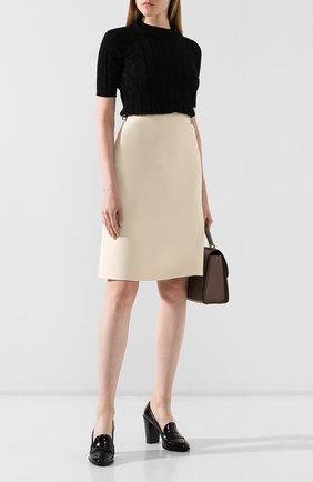 Женская кожаные туфли TOD'S черного цвета, арт. XXW75B0BR60MRK   Фото 2