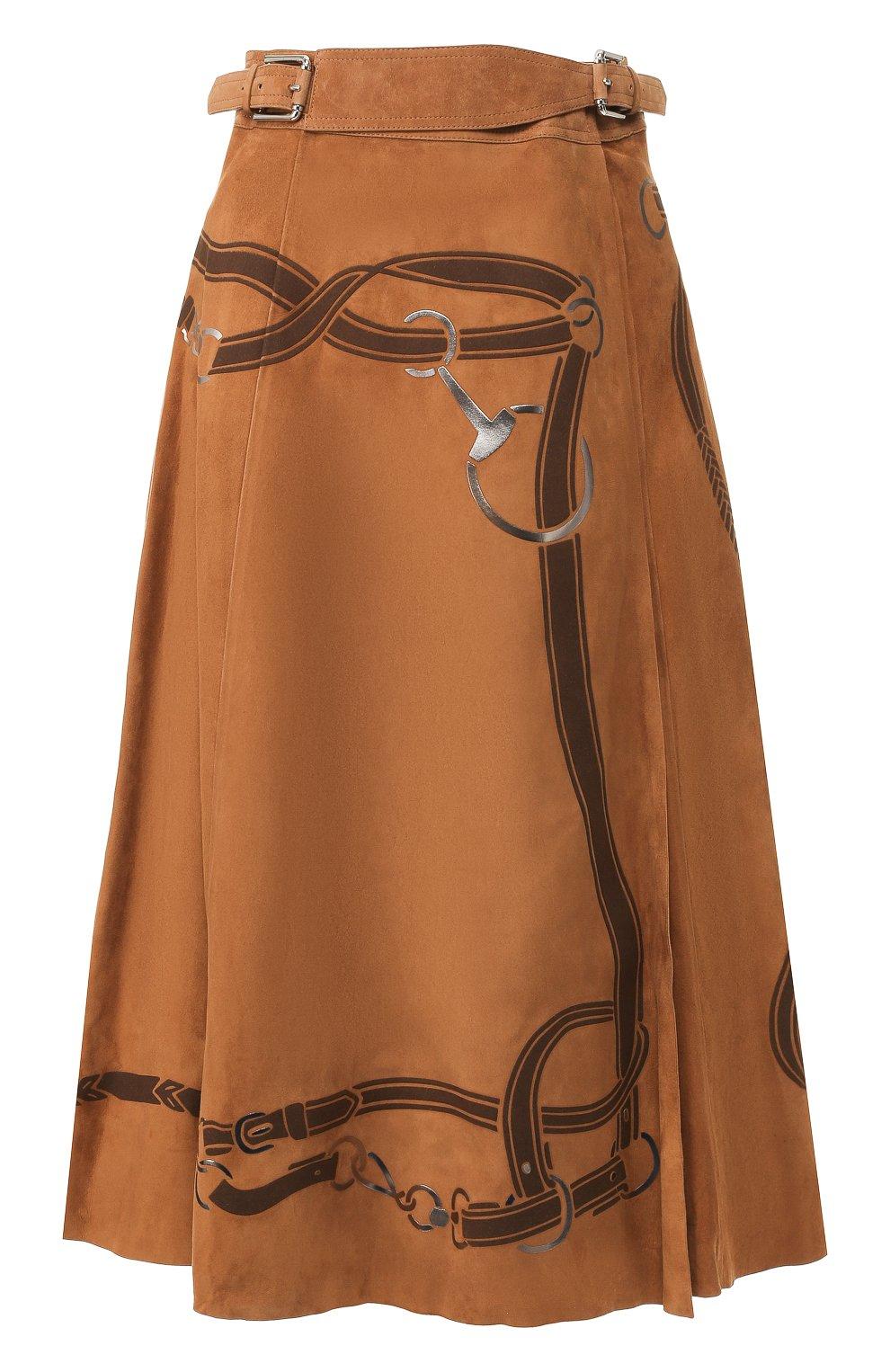 Женская замшевая юбка RALPH LAUREN коричневого цвета, арт. 290759574 | Фото 1