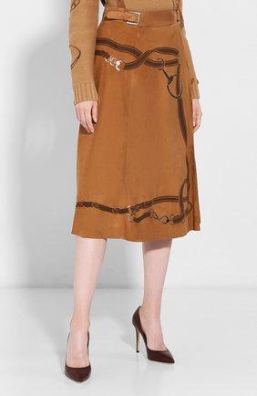 Женская замшевая юбка RALPH LAUREN коричневого цвета, арт. 290759574 | Фото 3