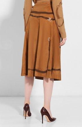Женская замшевая юбка RALPH LAUREN коричневого цвета, арт. 290759574 | Фото 4