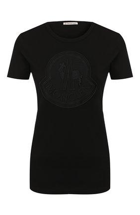 Женская хлопковая футболка MONCLER черного цвета, арт. E2-093-80918-00-V8059 | Фото 1