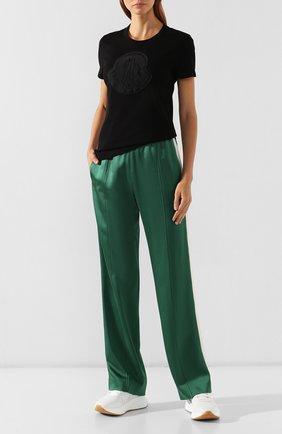 Женская хлопковая футболка MONCLER черного цвета, арт. E2-093-80918-00-V8059 | Фото 2