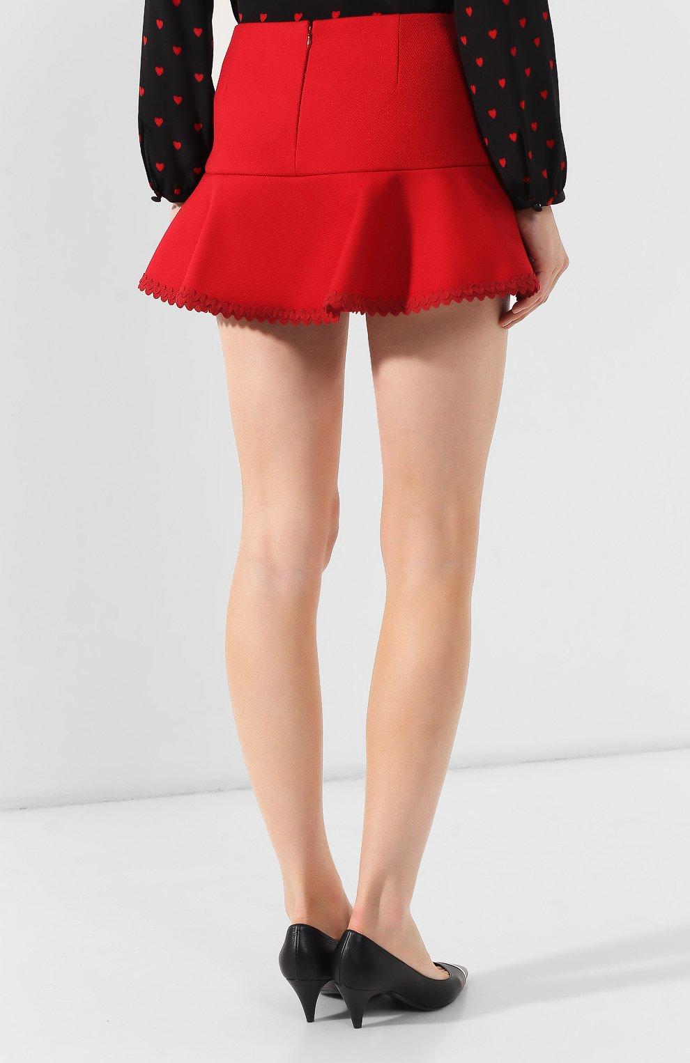 Женские юбка-шорты REDVALENTINO красного цвета, арт. SR3RFB75/1Y1 | Фото 4