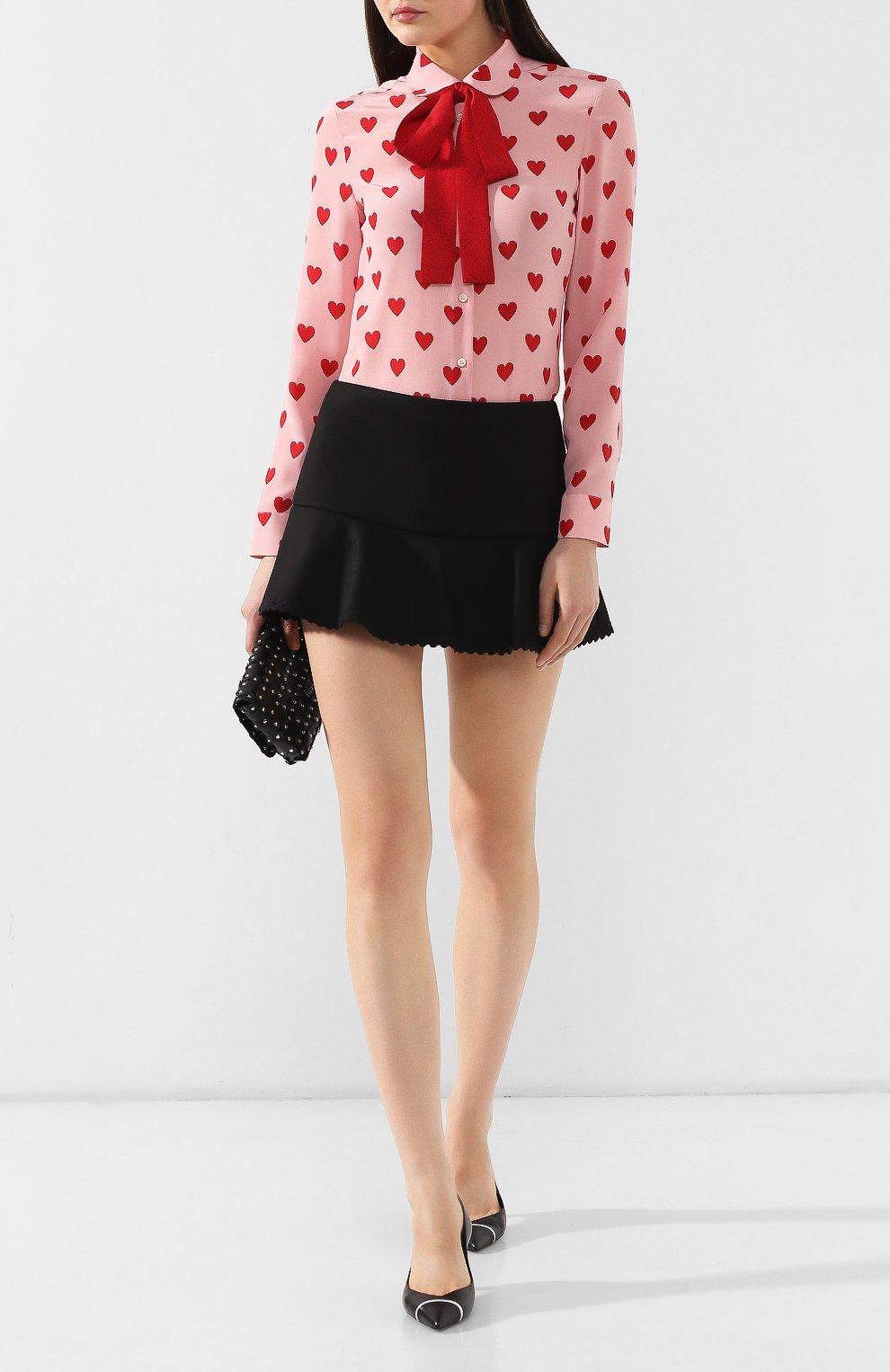 Женские юбка-шорты REDVALENTINO черного цвета, арт. SR3RFB75/1Y1 | Фото 2