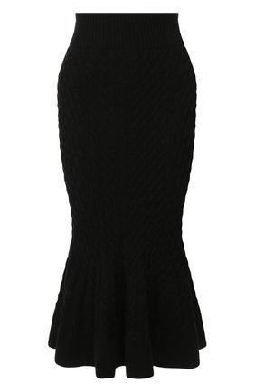Женская шерстяная юбка ALEXANDER MCQUEEN черного цвета, арт. 585181/Q1AB2 | Фото 1