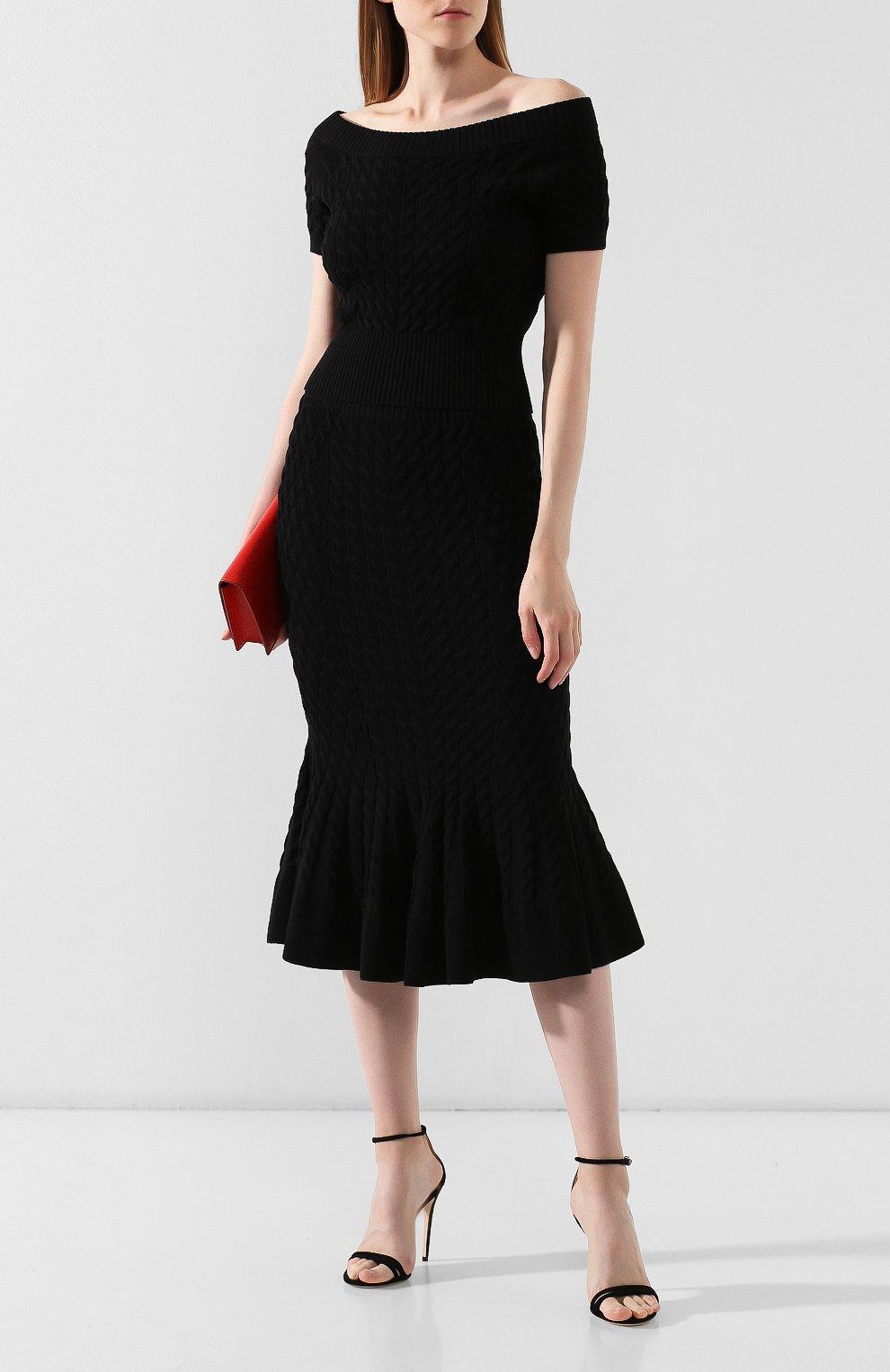 Женская шерстяная юбка ALEXANDER MCQUEEN черного цвета, арт. 585181/Q1AB2 | Фото 2