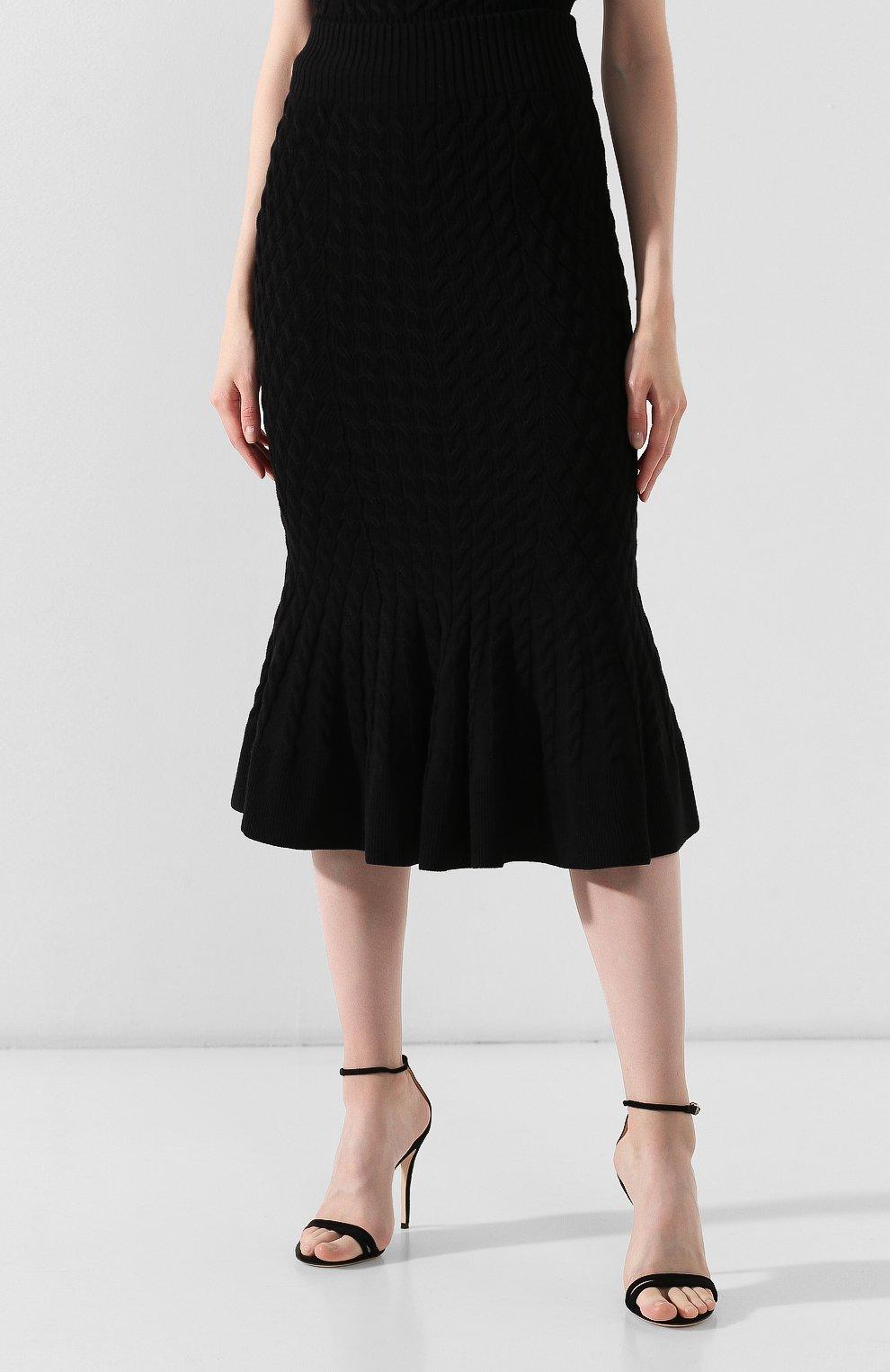 Женская шерстяная юбка ALEXANDER MCQUEEN черного цвета, арт. 585181/Q1AB2 | Фото 3