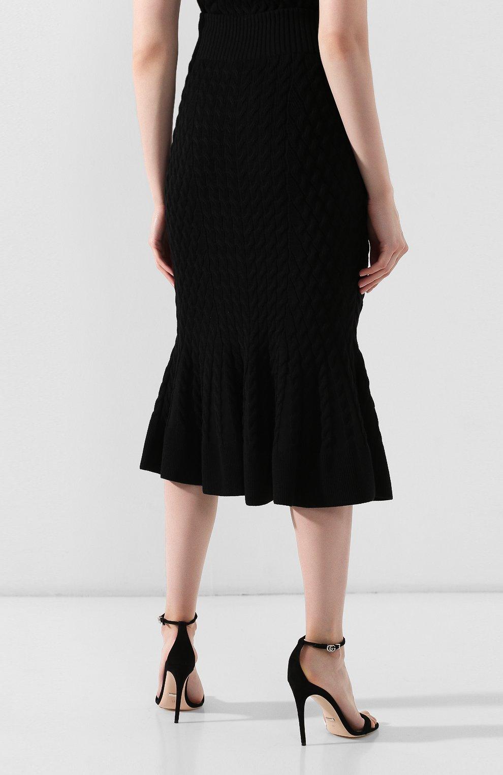 Женская шерстяная юбка ALEXANDER MCQUEEN черного цвета, арт. 585181/Q1AB2 | Фото 4