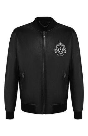 Мужской кожаная куртка BILLIONAIRE черного цвета, арт. MLB0850 | Фото 1
