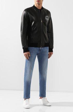 Мужской кожаная куртка BILLIONAIRE черного цвета, арт. MLB0850 | Фото 2