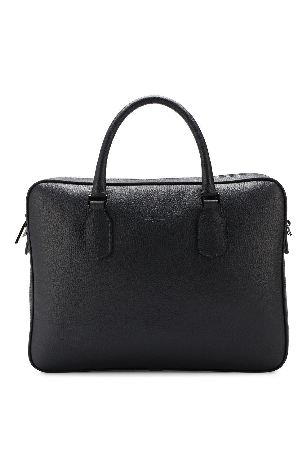 Мужская кожаная сумка для ноутбука CANALI темно-синего цвета, арт. P325341/NA00051 | Фото 1