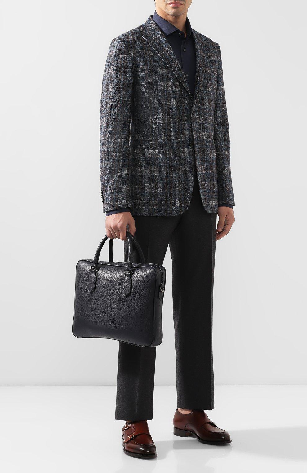 Мужская кожаная сумка для ноутбука CANALI темно-синего цвета, арт. P325341/NA00051 | Фото 2