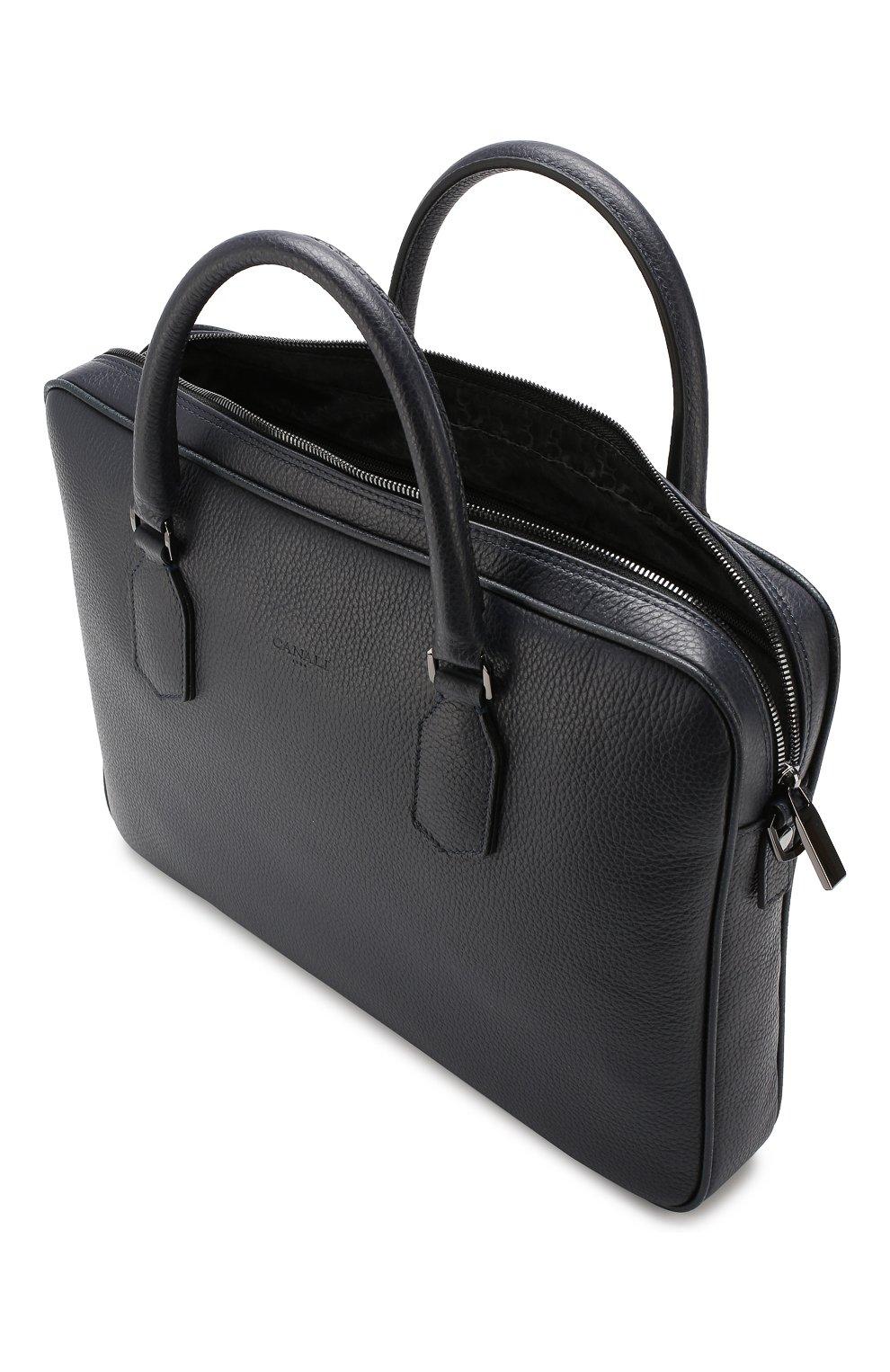 Мужская кожаная сумка для ноутбука CANALI темно-синего цвета, арт. P325341/NA00051 | Фото 4