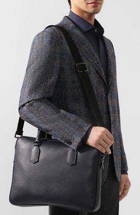 Мужская кожаная сумка для ноутбука CANALI темно-синего цвета, арт. P325341/NA00051 | Фото 5
