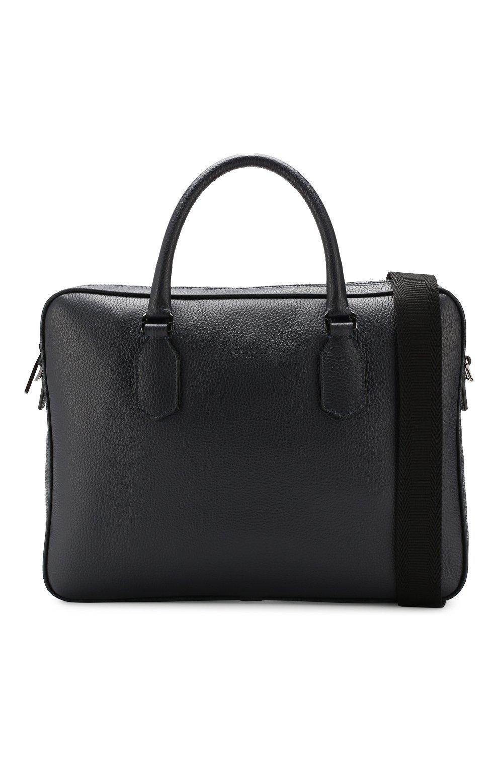Мужская кожаная сумка для ноутбука CANALI темно-синего цвета, арт. P325341/NA00051 | Фото 6