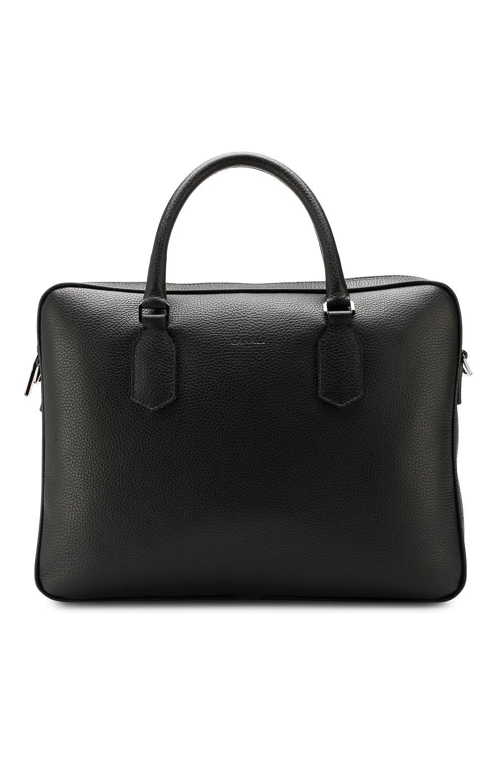 Мужская кожаная сумка для ноутбука CANALI черного цвета, арт. P325341/NA00051 | Фото 1