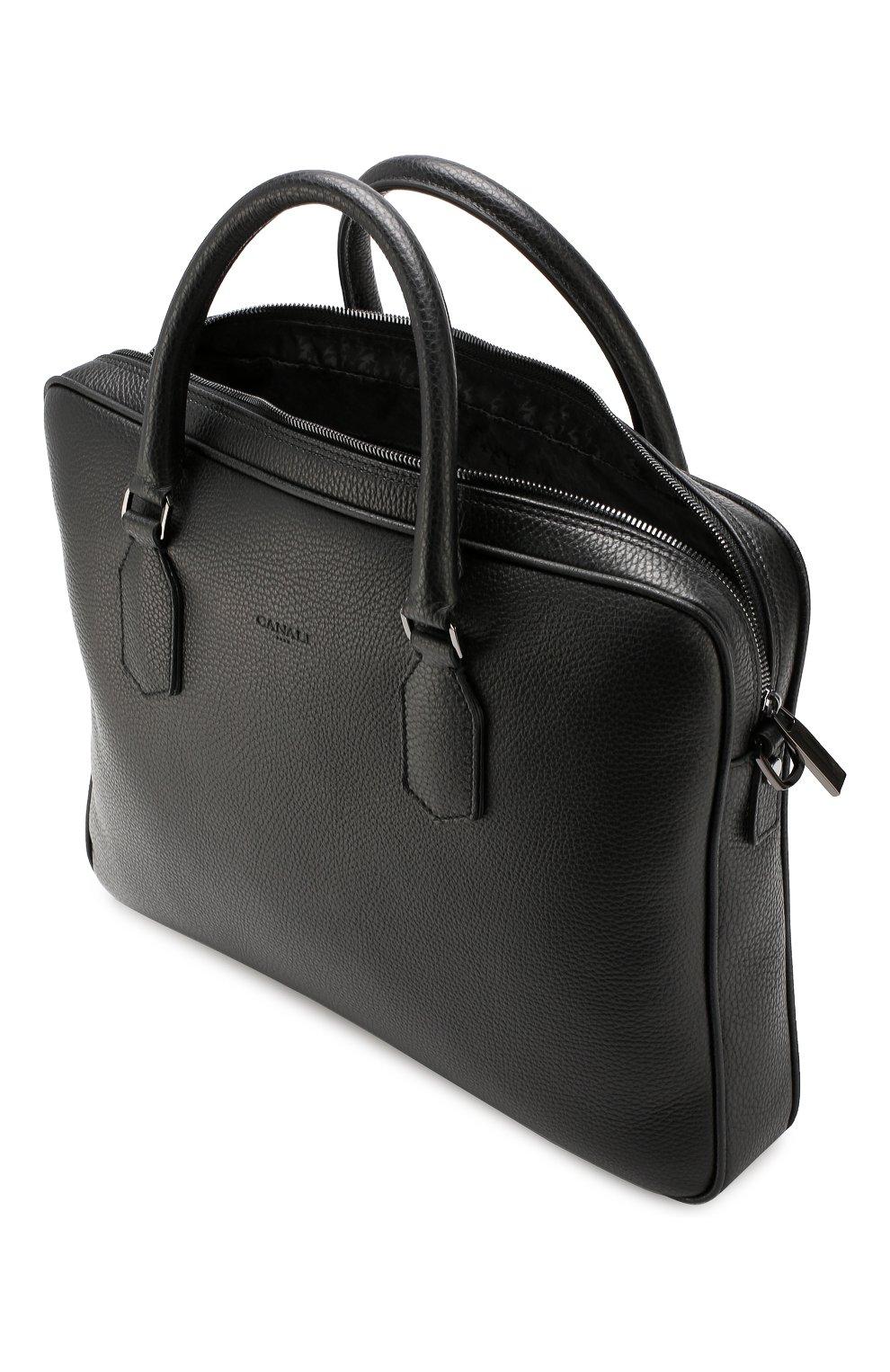 Мужская кожаная сумка для ноутбука CANALI черного цвета, арт. P325341/NA00051 | Фото 4