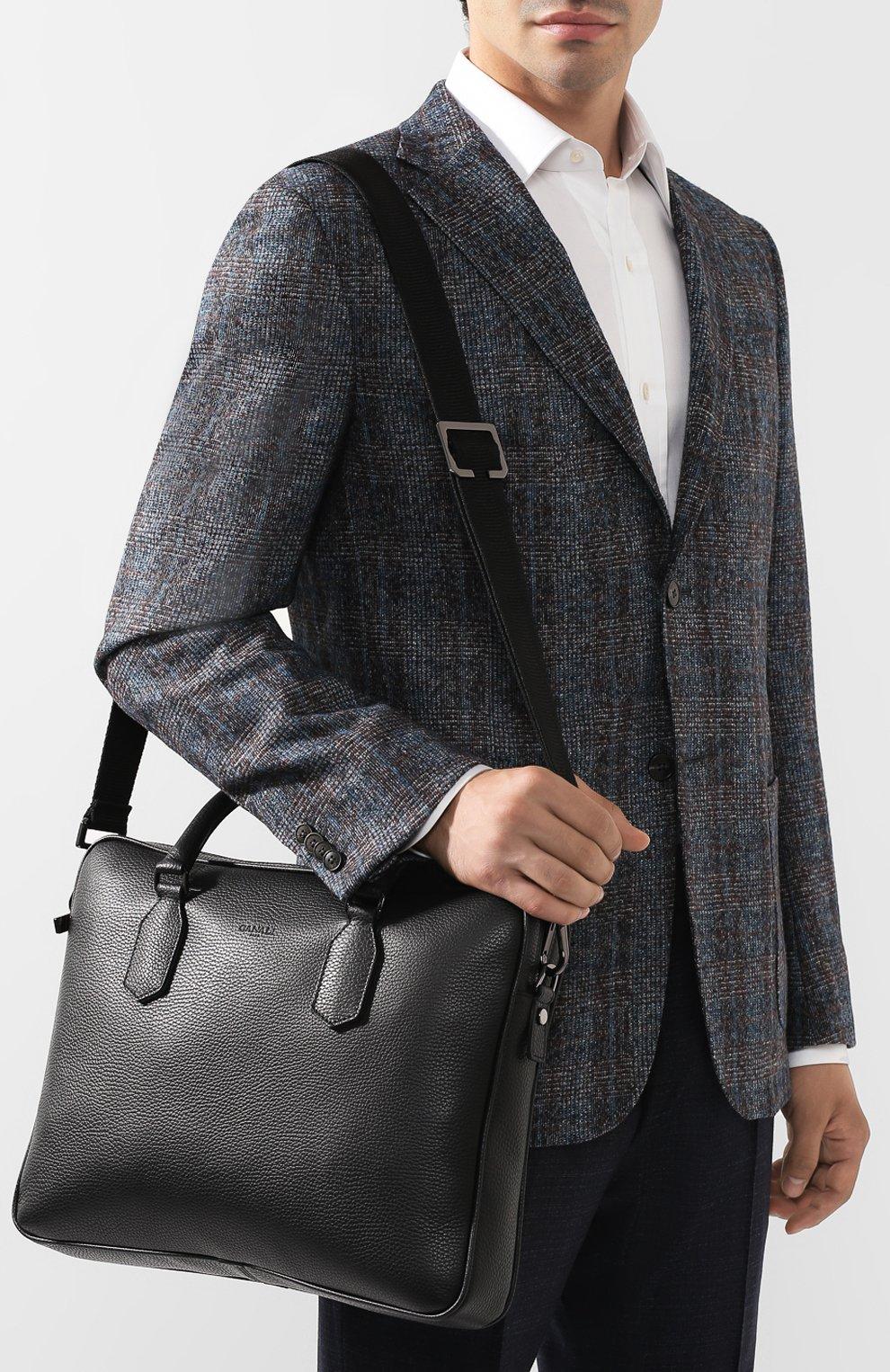 Мужская кожаная сумка для ноутбука CANALI черного цвета, арт. P325341/NA00051 | Фото 5
